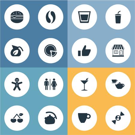 벡터 일러스트 레이 션 간단한 음료 아이콘의 집합입니다. 요소 스무디, 마티니, 카페 및 기타 동의어 체리, 마티니 그리고 주전자.
