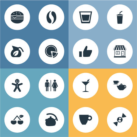 Vector Illustration Set Of Simple Beverage Icons. Elements Smoothie, Martini, Cafe And Other Synonyms Cherry, Martini And Kettle.