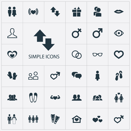Vector Illustration Set Of Simple Lovers Icons. Elements Gentleman, Friends, Man Symbol And Other Synonyms Couple, Lady And Health. Banco de Imagens - 86554008