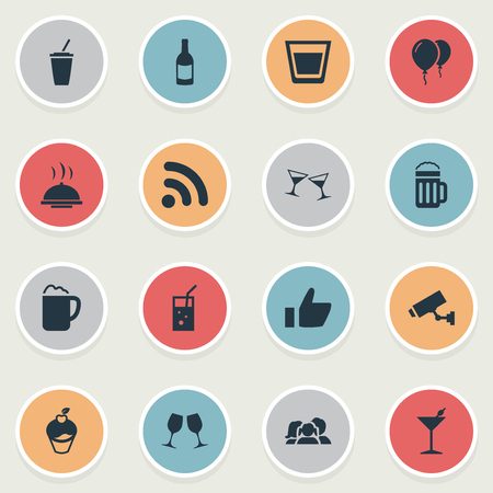 Vector Illustration Set Of Simple Cafe Icons. Elements Champagne, Helium, Alcohol Serving And Other Synonyms Camera, Surveillance And Beverage. Ilustrace