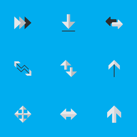 Vector Illustration Set Of Simple Pointer Icons. Elements Import, Loading, Cursor And Other Synonyms Alert, Boom And Download.