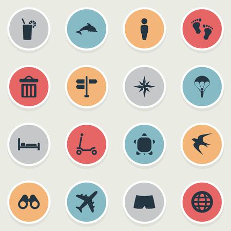 単純な海辺のアイコンのベクトル イラスト セット。要素パラシュート ジャンパー、飛行機、男性、他の同義語を飲み込む、自転車やアクアティッ  イラスト・ベクター素材