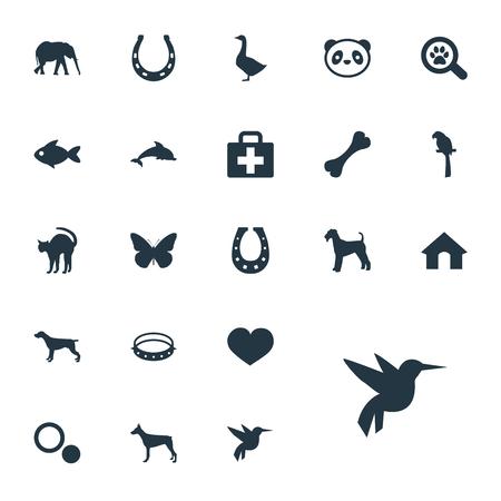 単純な動物園アイコンのベクター イラスト セット。要素水鳥、クマ、ベルト、その他シノニム ボックス クマとセキュリティ。  イラスト・ベクター素材