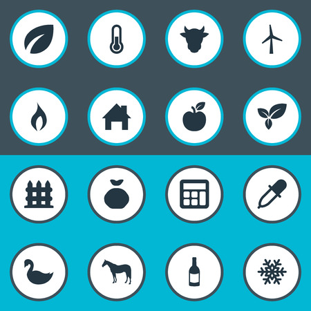Vector Illustration Set Of Simple Agricultural Icons. Elements Jonagold, Pipette, Calculator And Other Synonyms Plant, Jonagold And Frost.