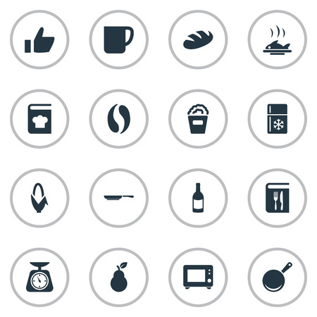 Vector Illustration Set Of Simple Cooking Icons. Elements Copybook, Cup, Weighing And Other Synonyms Cookware, Oven And Pear. Иллюстрация