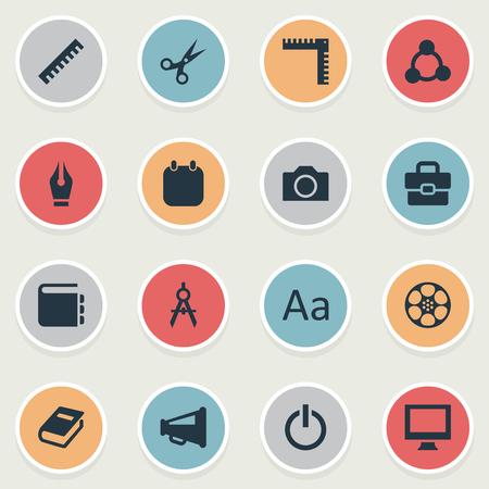 シンプルなアイコンのアイコンのベクトルイラストセット。要素リスト、Bullhorn、電源およびその他の同義語デバイス、フィルムとペン。  イラスト・ベクター素材