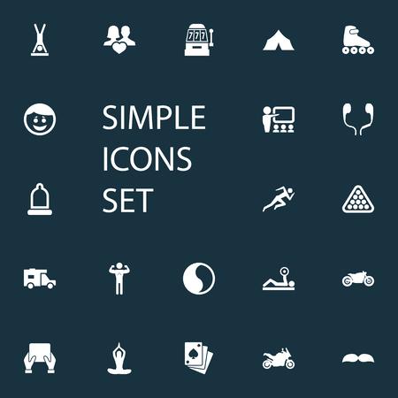 Vector illustratie Set van eenvoudige yoga iconen. Elementen Afstandsonderwijs, Ballance, Vrije tijd en andere synoniemen Snelheid, Klaslokaal en Yoga.