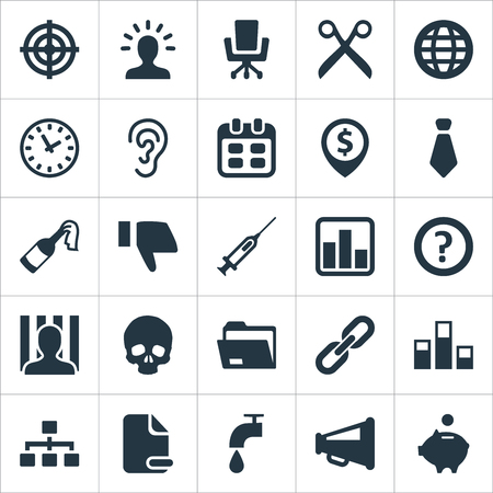 Vector Illustration Set Of Simple Situation Icons. Elements Penitentiary, Link, Envoirement And Other Synonyms Employee, Date And Finger. Stock Vector - 86554034
