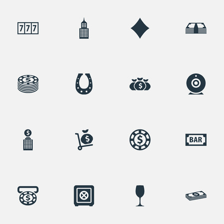Vector Illustration Set Of Simple Casino Icons. Elements Diamond, Slot Machine, Bank And Other Synonyms Protection, Coin And Currency.