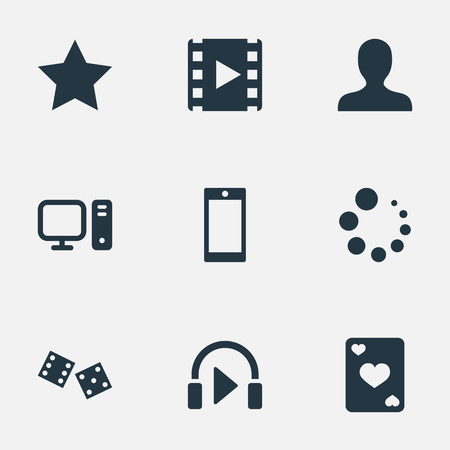 Vector illustratie Set van eenvoudige pictogrammen van de vrije tijd. Elements Asterisk, telefoon, geluid en andere synoniemen Avatar, gokken en persoonlijk. Stockfoto - 86554054