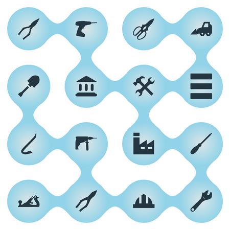Vectorillustratiereeks Eenvoudige het Werkpictogrammen. Elementen Spanner, zaag, tang en andere synoniemenschaar, beitel en sleutel.