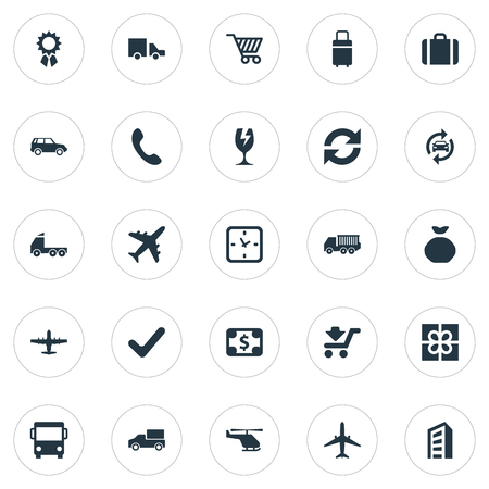 Vector Illustration Set Of Simple Conveyance Icons. Elements Gift, Cargo Truck, Watch And Other Synonyms Luggage, Greenback And Award.