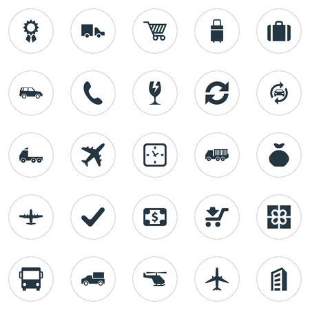 Vector illustratie Set van eenvoudige transport pictogrammen. Elements Gift, Cargo Truck, Watch And Other Synoniemen Luggage, Greenback And Award.