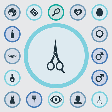 Vector Illustration Set Of Simple Beauty Icons. Elements Natural, Male Sign, Glass And Other Synonyms Care, Necklace And Polish. Illustration