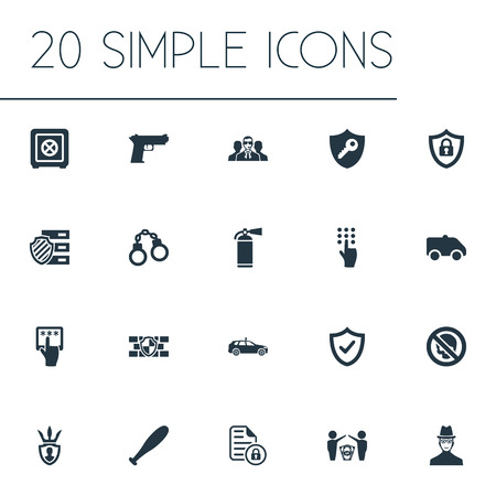 Vector Illustration Set Of Simple Safety Icons. Elements Protected Document, Pistol, Agent And Other Synonyms Key, Shackle And Inspector.
