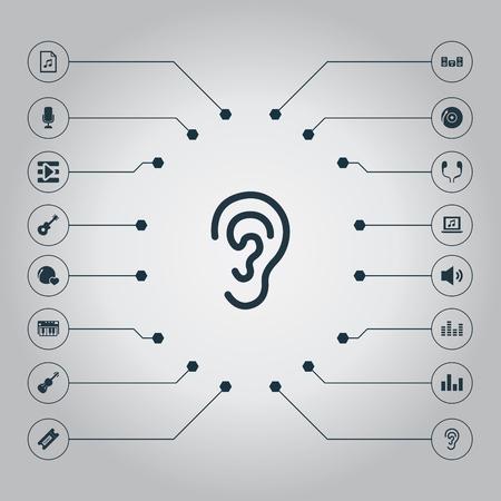 Vector Illustration Set d'icônes de mélodie simple. Platine d'éléments, Shellac, synthétiseur et autres synonymes jouent, enregistrement et stabilisateur. Banque d'images - 86554071