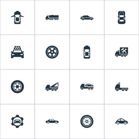 Ilustración vectorial Conjunto de iconos de coche simple. Elementos Panorama, tránsito, Camion y otros camiones de sinónimos, revisión y lateral. Foto de archivo - 86554072