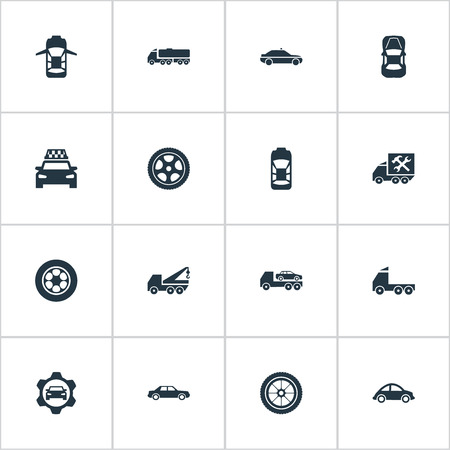 Vector Illustration Set Of Simple Car Icons. Elements Panorama, Transit, Camion And Other Synonyms Truck, Overhaul And Side.