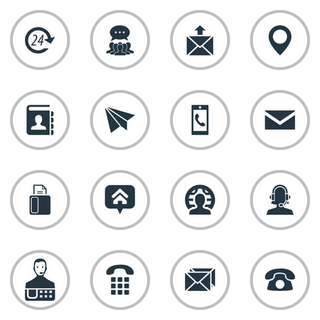 Vector Illustration Set Of Simple Connect Icons. Elements Postage, Correspondence, Aircraft And Other Synonyms Talk, Machine And Pin.