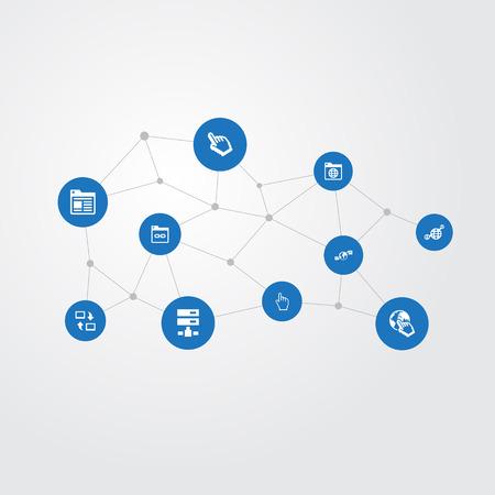 単純なネットワークのアイコンのベクトル イラスト セット。要素の共有、リンク、惑星および他類義語のページでは、データ センターとクリック