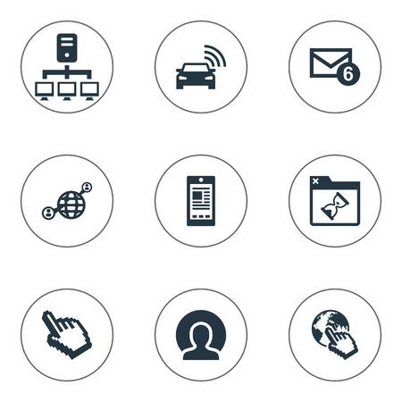 벡터 일러스트 레이 션 간단한 브라우저 아이콘의 집합입니다. 요소 커서, 커뮤니케이션, 회원 및 기타 동의어 세계, 세단 및 연락처.