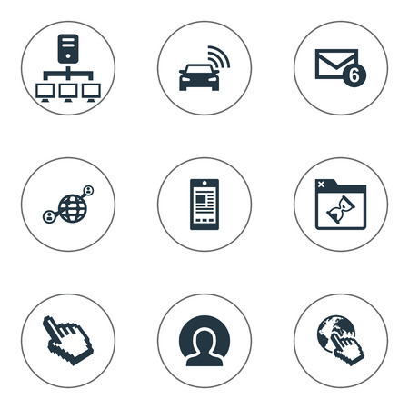 Vector Illustration Set Of Simple Browser Icons. Elements Cursor, Communication, Member And Other Synonyms World, Sedan And Contact.