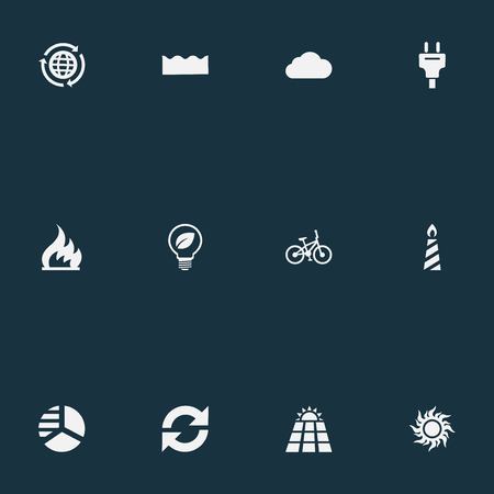 Vector Illustration Set Of Simple Power Icons. Elements Plug, Diagram, Solar Energy And Other Synonyms Chart, Overcast And Sunlight.