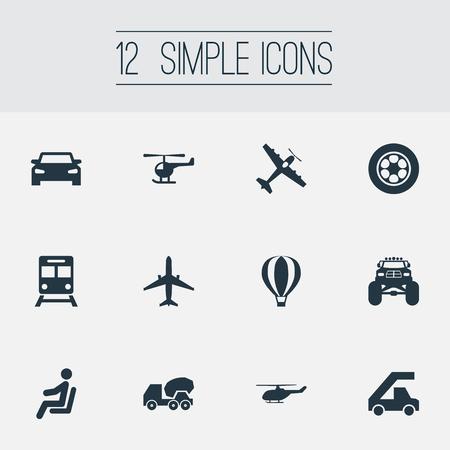 Ilustración vectorial Conjunto de iconos de transporte simple. Carro de elementos, Aerocab, dirigible y otro coche de sinónimos, helicóptero y dirigible. Foto de archivo - 86554080