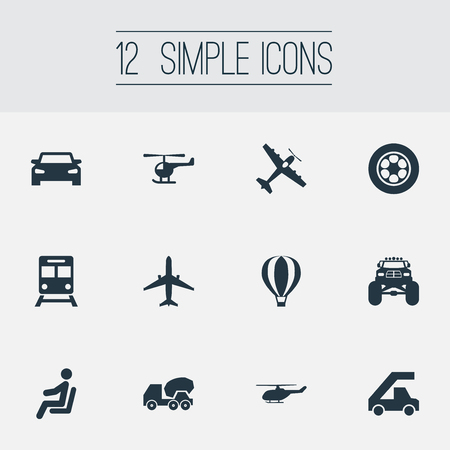 Vector Illustration Set Of Simple Transportation Icons. Elements Truck, Aerocab, Airship And Other Synonyms Car, Helicopter And Airship. 向量圖像