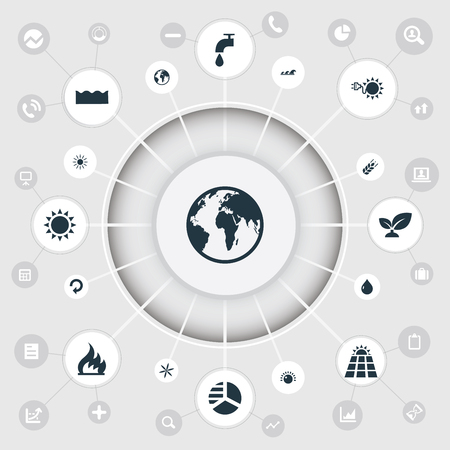 Vector Illustration Set Of Simple Green Icons. Elements Planet, Leaking Faucet, Floret And Other Synonyms Danger, Waves And Oil. Illustration
