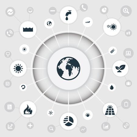 Vektor-Illustrations-Satz einfache grüne Ikonen. Elemente Planet, undichte Wasserhahn, Blümchen und andere Synonyme Gefahr, Wellen und Öl. Standard-Bild - 86554083