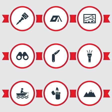 単純な観光のアイコンのベクトル イラスト セット。要素 Selfie スティック、位置、冒険、他の同義語の双眼鏡、眼鏡や漁師。