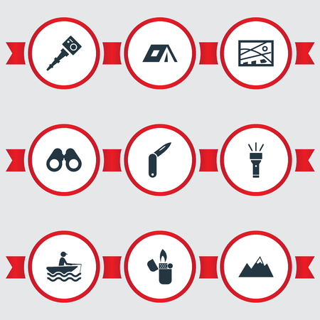 Vector Illustration Set Of Simple Tourism Icons. Elements Selfie Stick, Position, Adventure And Other Synonyms Binoculars, Glasses And Fisherman.