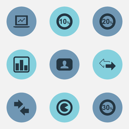 Vector Illustration Set Of Simple Diagram Icons. Elements Opposite, Direction, Monitor And Other Synonyms Sale, Merger And Component.