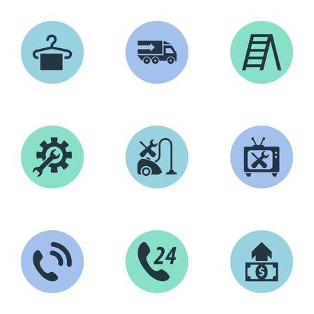 Illustrazione vettoriale Set di icone semplici di supporto. Elementi gancio, riparazione in garanzia, call center e altri sinonimi di ingegneria, elettrodomestici e impostazione. Archivio Fotografico - 86554088