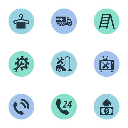 Vector Illustration Set Of Simple Support Icons. Elements Hanger, Warranty Repairing, Call Center And Other Synonyms Engineering, Appliances And Setting.