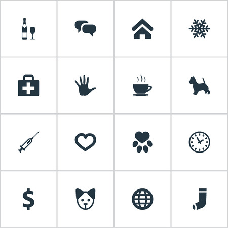 Vector Illustration Set Of Simple Brood Icons. Elements Earth, Puppy, Case And Other Synonyms Snow, Building And Home.