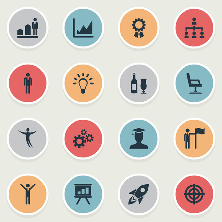 Vector Illustration Set Of Simple Winner Icons. Elements Best Quality, Degree Achievement, Growth And Other Synonyms Achievement, Goal And Chair.