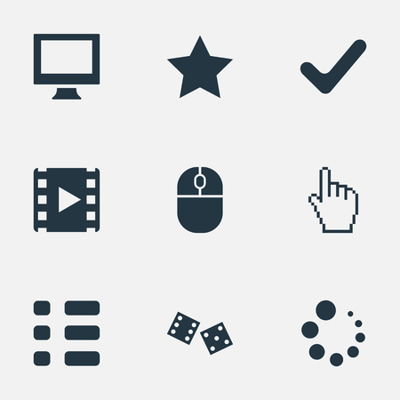 Vector Illustration Set Of Simple Play Icons. Elements Gambling, Preloader, Mark And Other Synonyms Checklist, Monitor And Pointer.