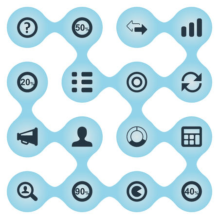 Vector Illustration Set Of Simple Diagram Icons. Elements Magnifier, Increase, Fifty And Other Synonyms Forty, Increase And Profile.