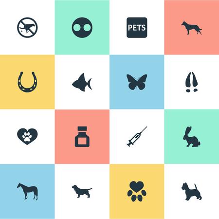 単純な動物園アイコンのベクター イラスト セット。要素子犬ペット バナー、海の魚と他の類義語うさぎドイツとバナー。