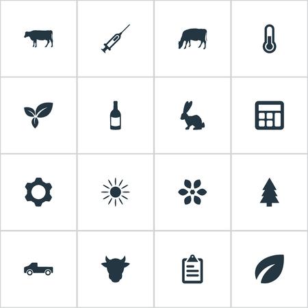 Vector illustratie Set van eenvoudige oogst pictogrammen. Elements Calculator, Livestock, Engine And Other Synoniemen Geneeskunde, zon en meting. Stock Illustratie