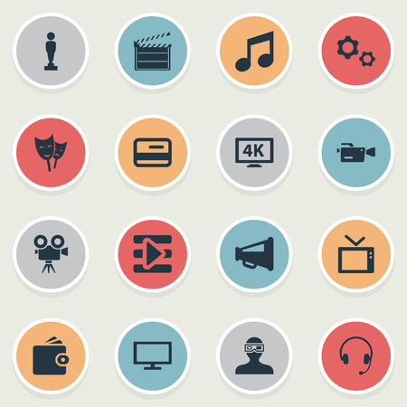 Vector Illustration Set Of Simple Movie Icons. Elements Cogwheel, Play, High Resolution And Other Synonyms Award, Music And Director. Illustration