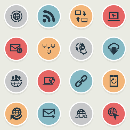 Vector Illustration Set Of Simple Web Icons. Elements Globe, Group, Laptop And Other Synonyms Upload, Laptop And Group.