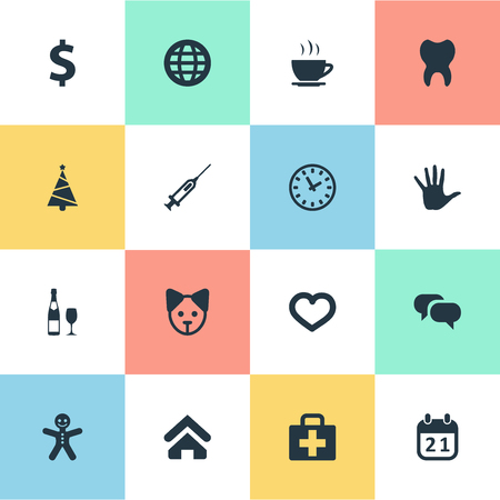 Vector Illustration Set Of Simple Brood Icons. Elements Cake, Earth, Love And Other Synonyms Cookie, Cup And Globe.