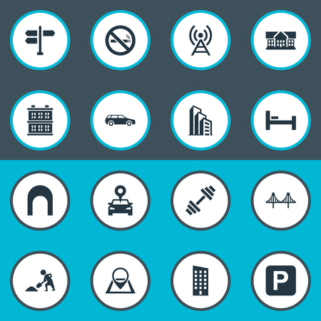 Vector Illustration Set Of Simple City Icons. Elements Forbidden, Apartment, Connection And Other Synonyms Barbell, Forbidden And Antenna.