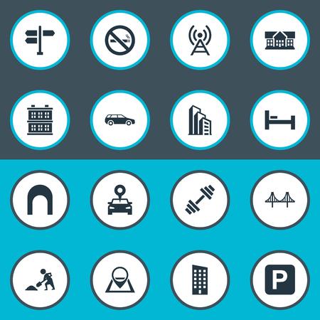 Vector illustratie Set van eenvoudige stad iconen. Elements Forbidden, Apartment, Connection And Other Synoniemen Barbell, Forbidden And Antenna.