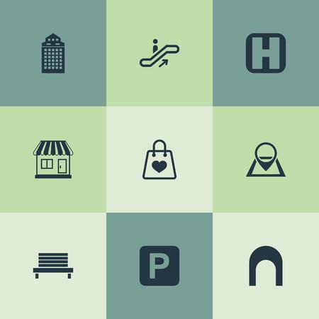Vector illustratie Set van eenvoudige infrastructuur pictogrammen. Elementen wolkenkrabber, parkeergarage, Pin en andere synoniemen Parking, Park en Box.