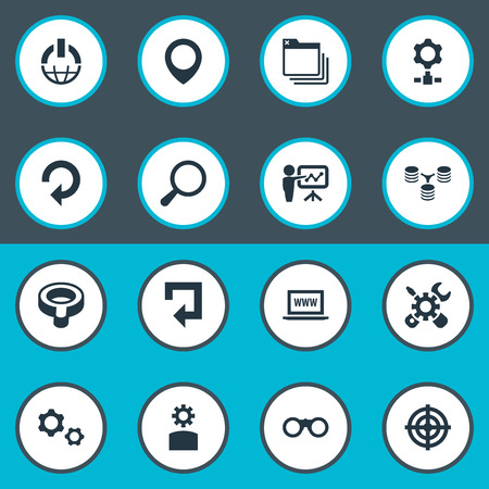 Vector Illustration Set Of Simple SEO Icons. Elements Search, Optical Zoom, Setting And Other Synonyms Button, Loupe And Magnifier. Ilustrace