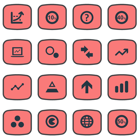 Vector Illustration Set Of Simple Analytics Icons. Elements Monitor, Arrow, Help And Other Synonyms Discount, Component And Sale.
